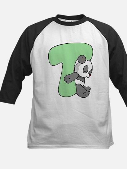 Zoo Alphabet T - Panda Kids Baseball Jersey