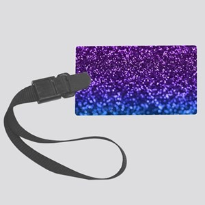 Purple Teal Faux Glitter Ombre Large Luggage Tag