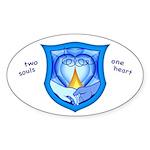2 Souls 1 Heart Oval Sticker (10 pk)