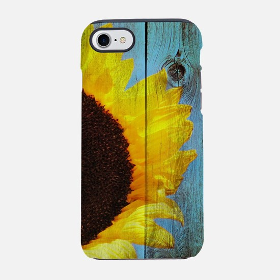 Rustic Sunflower Teal Wood iPhone 8/7 Tough Case
