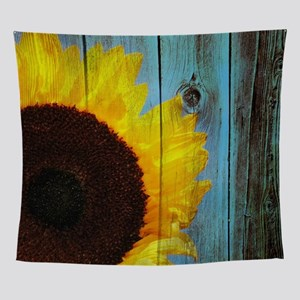 Rustic Sunflower Teal Wood Wall Tapestry