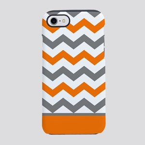 Orange Gray Chevron Stripe iPhone 8/7 Tough Case