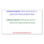 HW Engineer vs. SW Engineer Sticker (Rectangle 10