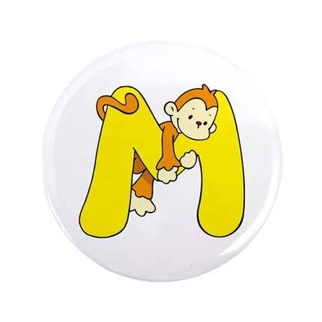 "Zoo Alphabet M - Monkey 3.5"" Button (100 pack)"