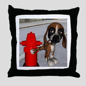 Dog Firehydrant Throw Pillow