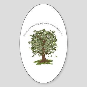 Prune Spending Grow Savings Oval Sticker