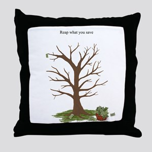 Reap What You Save Money Tree Throw Pillow
