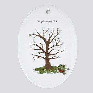 Reap What You Save Money Tree Oval Ornament