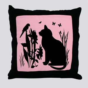 SPRING KITTY SILHOUETTE Throw Pillow