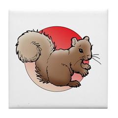 Animal Art Squirrel Tile Coaster