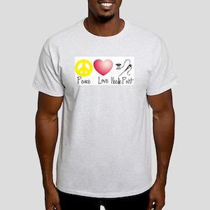 Peace, Love, Needlepoint Light T-Shirt