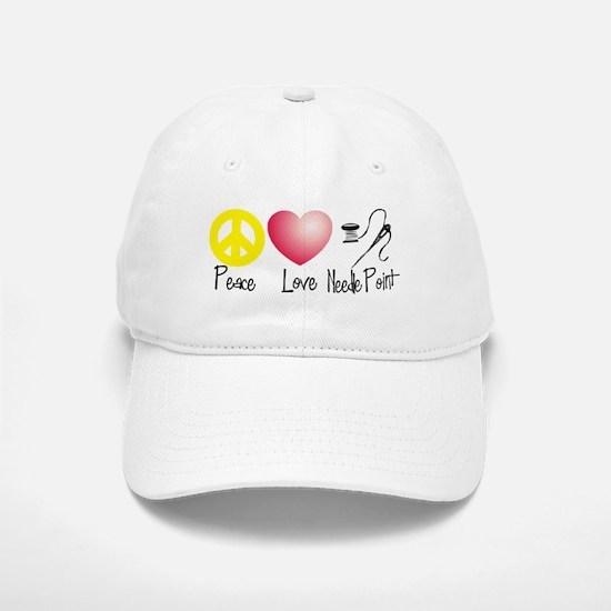 Peace, Love, Needlepoint Baseball Baseball Cap