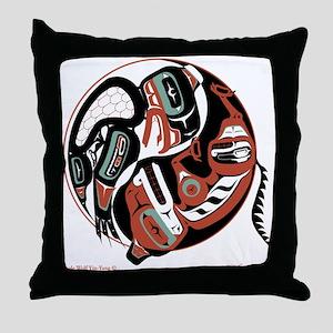 Eagle Wolf Yin-Yang Throw Pillow