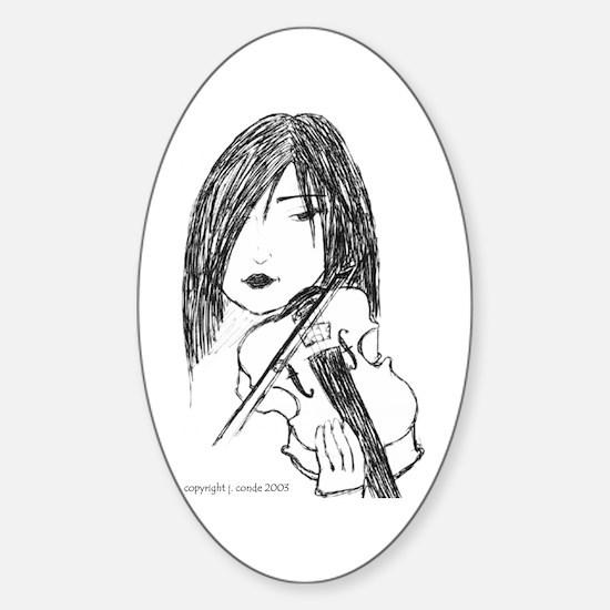 violin art Oval Decal