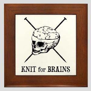 Knit for Brains - Brains Skull Framed Tile