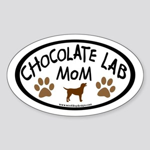 Chocolate Lab Mom Oval Sticker