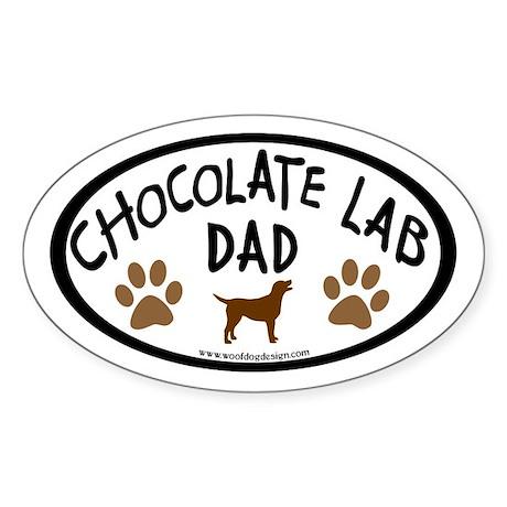 Chocolate Lab Dad Oval Sticker