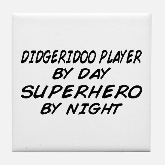 Didgeridoo Superhero by Night Tile Coaster
