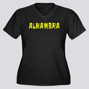 Alhambra Faded (Gold) Women's Plus Size V-Neck Dar