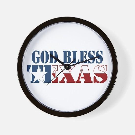 God Bless Texas Wall Clock
