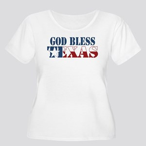 God Bless Texas Women's Plus Size Scoop Neck T-Shi
