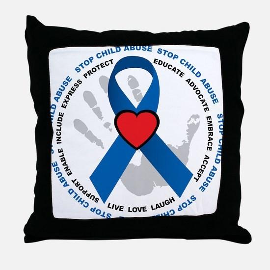 Stop Child Abuse Ribbon Throw Pillow