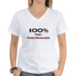 100 Percent Fish Farm Manager Women's V-Neck T-Shi