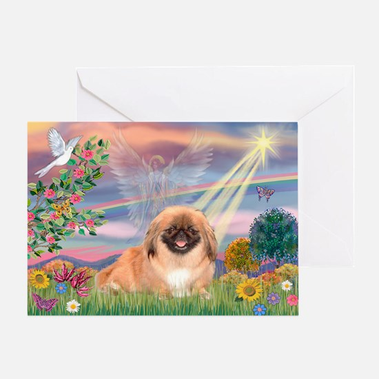 Cloud Angel Pekingese (#1) Greeting Card