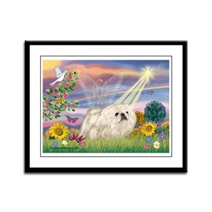 Cloud Angel & White Peke Framed Panel Print