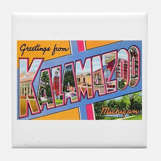 Kalamazoo Michigan Greetings Tile Coaster