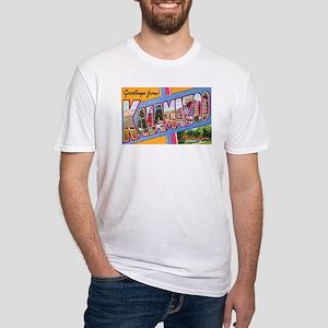 Kalamazoo Michigan Greetings (Front) Fitted T-Shir
