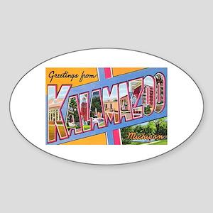 Kalamazoo Michigan Greetings Oval Sticker
