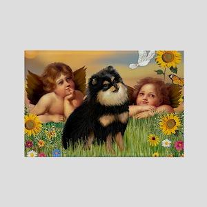 Angels / Pomeranian (b&t) Rectangle Magnet