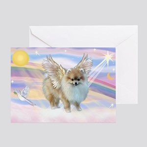 Clouds & Pomeranian Angel Greeting Card