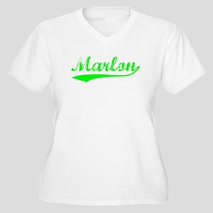 Vintage Marlon (Green) Women's Plus Size V-Neck T-