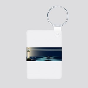 Lighthouse Night Background Keychains