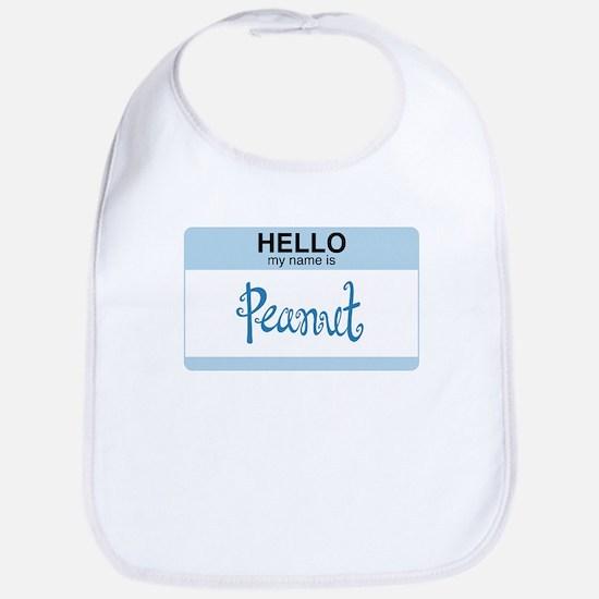 Hello My Name Is Peanut - bib (blue)
