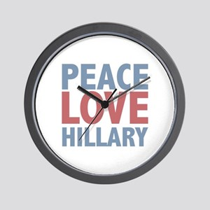 Peace Love Hillary Clinton Wall Clock