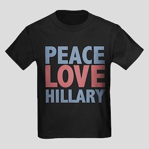 Peace Love Hillary Clinton Kids Dark T-Shirt
