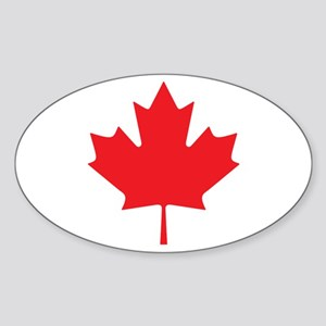 Canadian Maple Leaf Sticker (Oval)