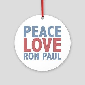 Peace Love Ron Paul Ornament (Round)
