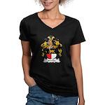 Nussler Family Crest Women's V-Neck Dark T-Shirt