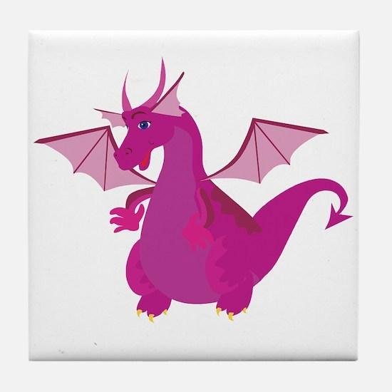 Pink Dragon Tile Coaster