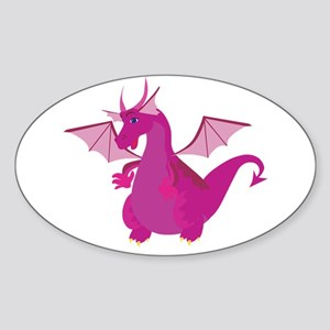 Pink Dragon Oval Sticker
