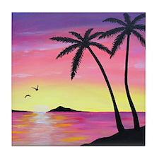 Tropical Sunrise Tile Coaster