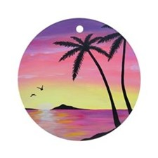 Tropical Sunrise Round Ornament