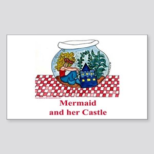 A Mermaid and her Castle Rectangle Sticker