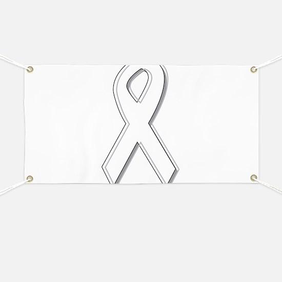 White Awareness Ribbon Banner