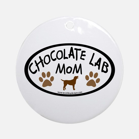 chocolate lab mom oval Ornament (Round)