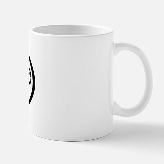 chocolate lab mom oval Mug